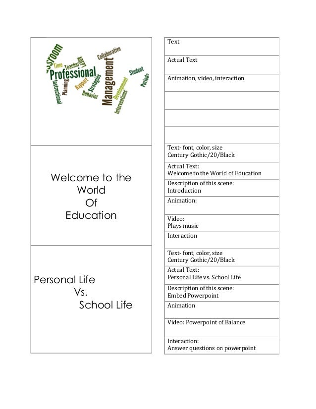Welcome to the World Of Education 	    	    Personal Life Vs. School Life 	    	    Text	   	    Actual	   Text	    Anim...
