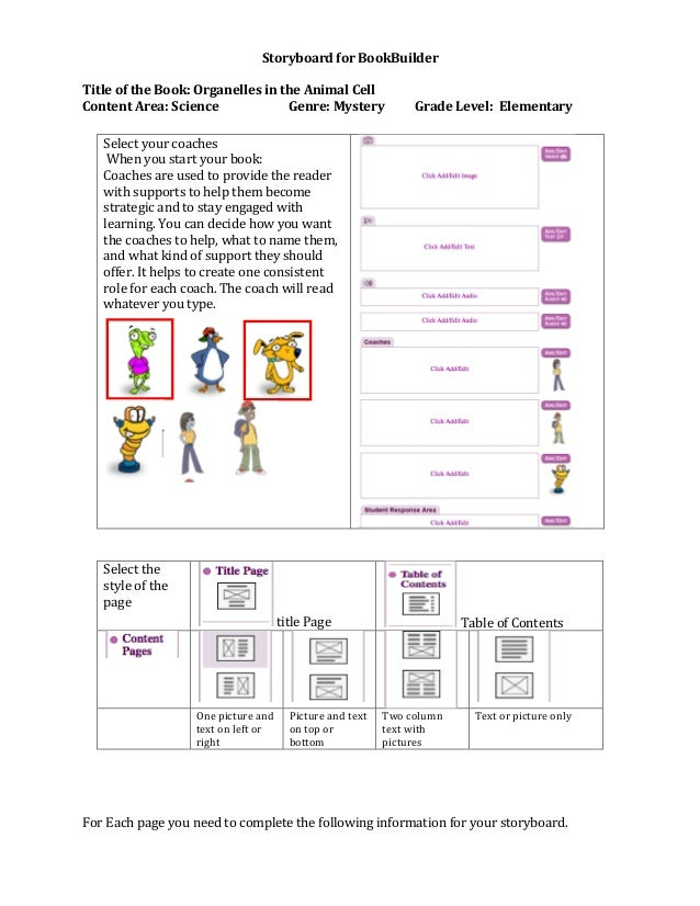 Storyboard for BookBuilder Title of the Book: Organelles in the Animal Cell Content Area: Science Genre: Mystery Grade Lev...