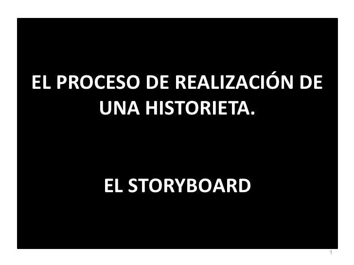EL PROCESO DE REALIZACIÓN DE UNA HISTORIETA. EL STORYBOARD<br />1<br />