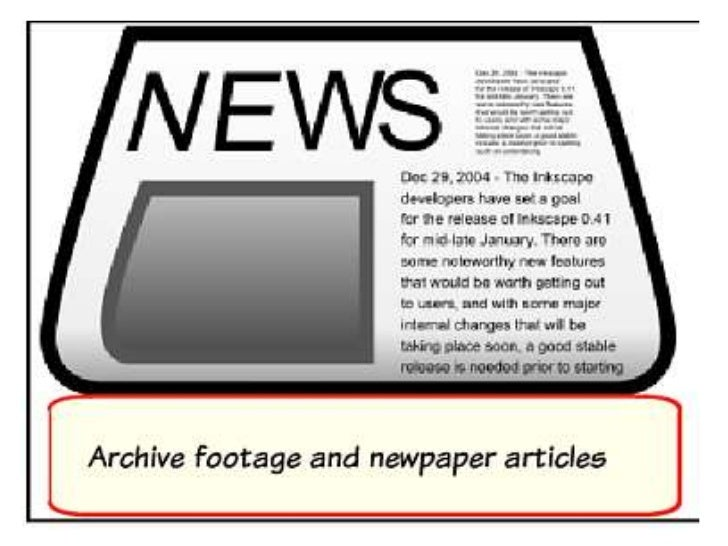 Achieve footage and newspaper  articles of the topic- various        different effects.Complimented with voiceover toreinf...