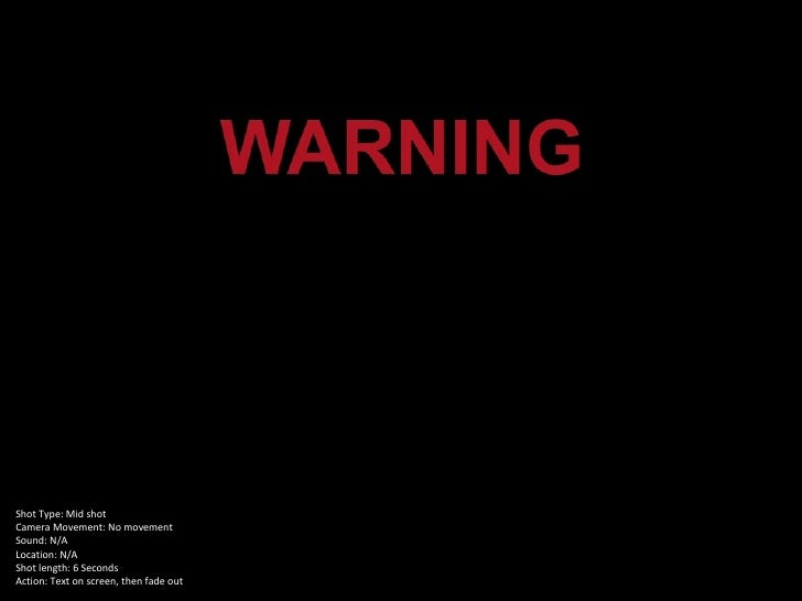 Shot Type: Mid shotCamera Movement: No movementSound: N/ALocation: N/AShot length: 6 SecondsAction: Text on screen, then f...