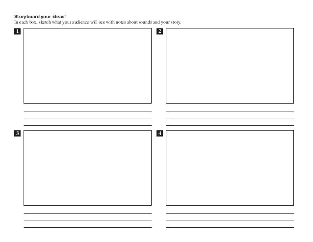 Storyboard your ideas! In each box, sketch what your audience will see with notes about sounds and your story. 1 2 43