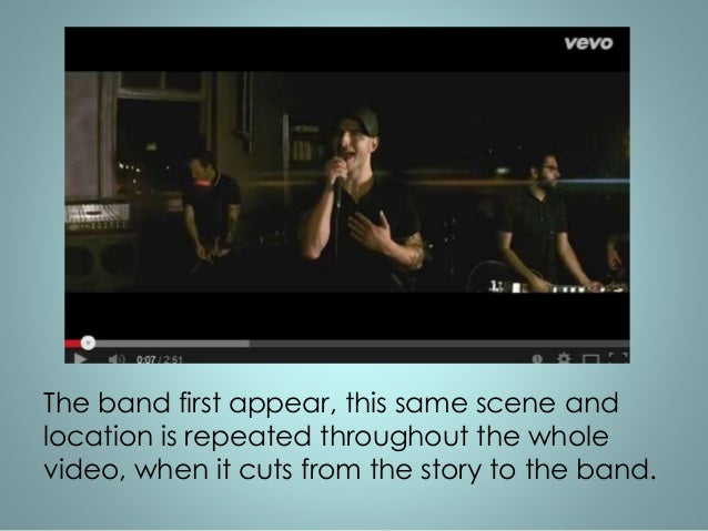 The band first appear, this same scene and  location is repeated throughout the whole  video, when it cuts from the story ...