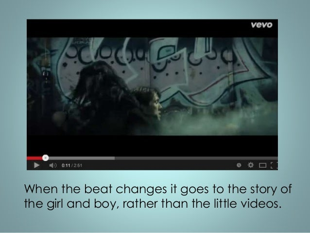 The rest of the video is a story with a girl  and boy in, every now and then it  changes to the band singing. The cuts  ar...