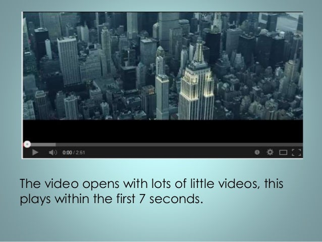 The video opens with lots of little videos, this  plays within the first 7 seconds.