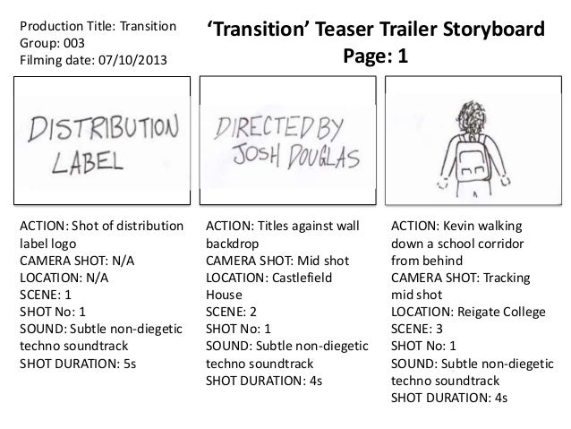 Production Title: Transition Group: 003 Filming date: 07/10/2013  'Transition' Teaser Trailer Storyboard Page: 1  ACTION: ...