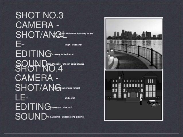 SHOT NO.3 CAMERA - SHOT/ANGL E- EDITING - SOUND - High / Wide shot Non-Diegetic - Chosen song playing Cut away to shot no....