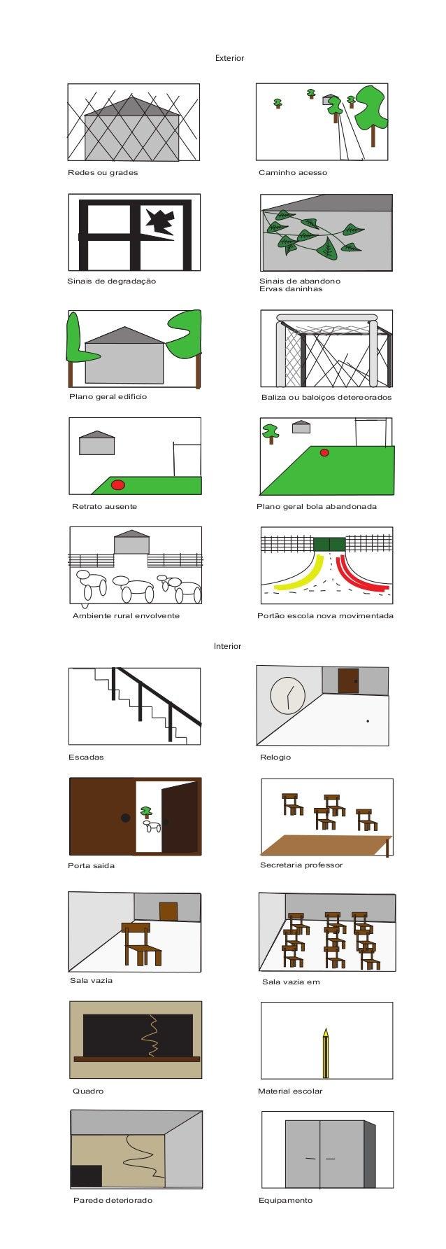 Redes ou grades Sinais de abandono Ervas daninhas Sinais de degradação Baliza ou baloiços detereoradosPlano geral edificio...