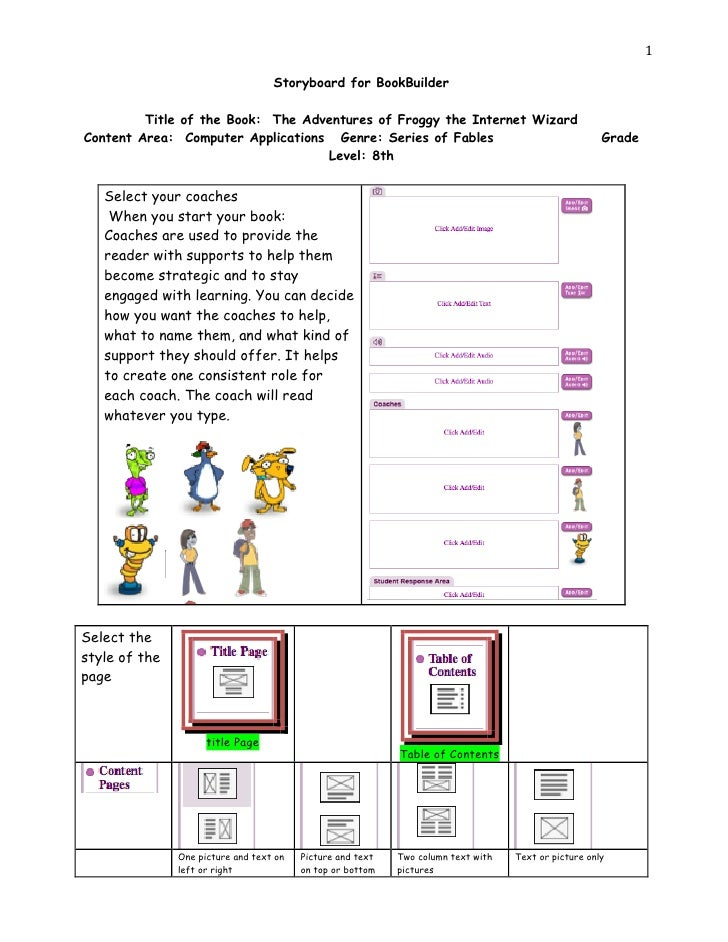 1                                   Storyboard for BookBuilder         Title of the Book: The Adventures of Froggy the Int...