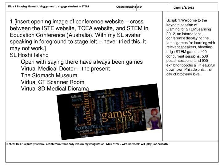 Slide 1 Enaging Games-Using games to engage student in STEM                           Create opening with                 ...