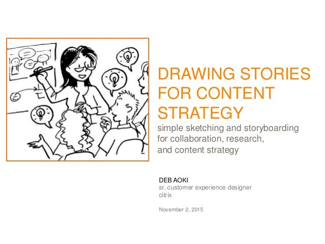 DEB AOKI sr. customer experience designer citrix November 2, 2015 DRAWING STORIES FOR CONTENT STRATEGY simple sketching an...