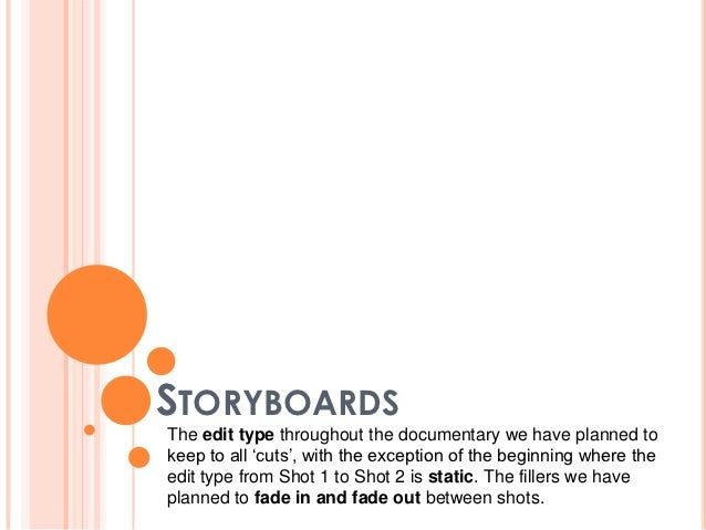 STORYBOARDSThe edit type throughout the documentary we have planned tokeep to all 'cuts', with the exception of the beginn...