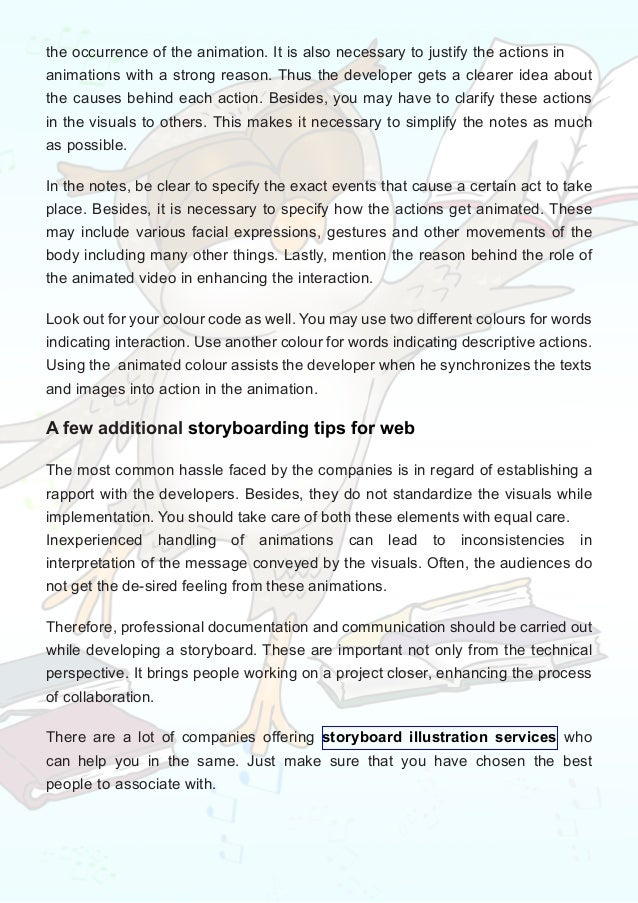 Developing outstanding storyboards for web animations