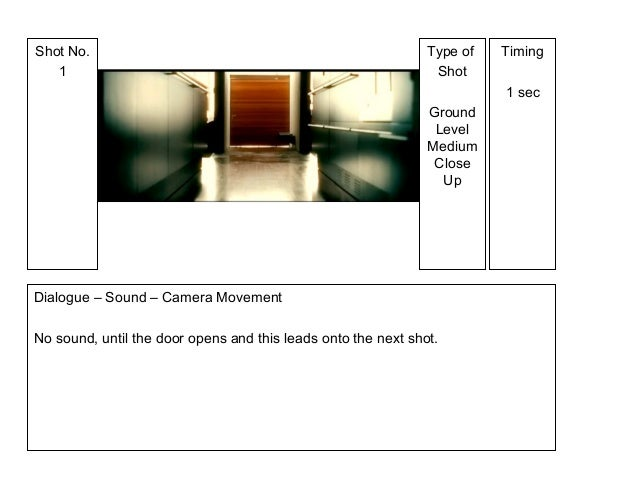 Type of Shot Ground Level Medium Close Up Shot No. 1 Timing 1 sec Dialogue – Sound – Camera Movement No sound, until the d...