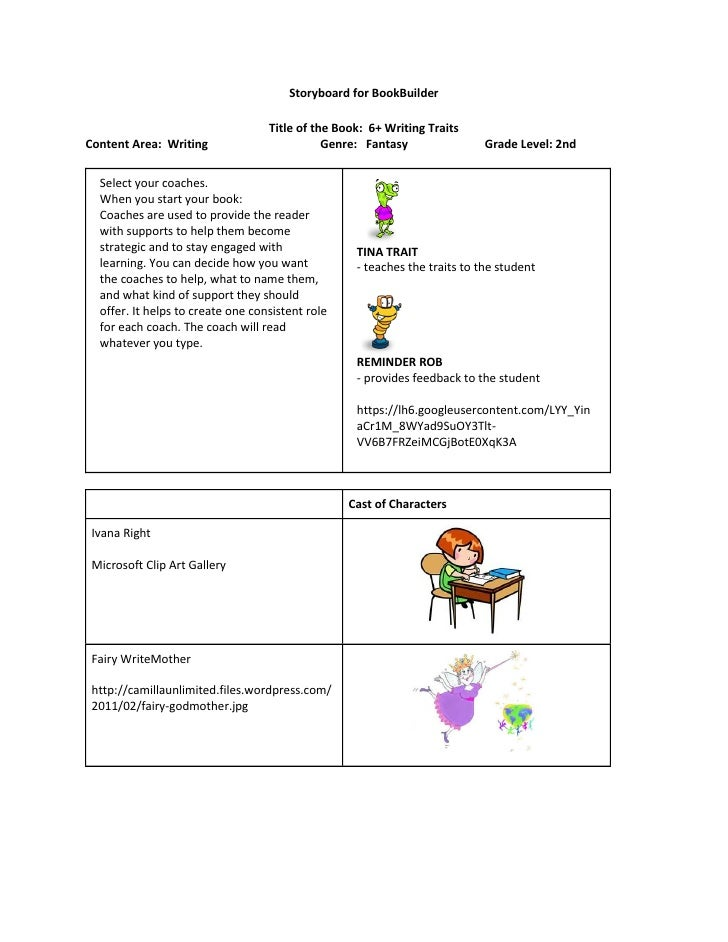 Storyboard for BookBuilder                                   Title of the Book: 6+ Writing TraitsContent Area: Writing    ...