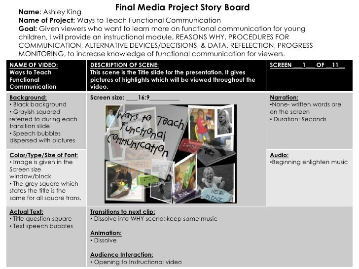 Name: Ashley King                                      Final Media Project Story Board   Name of Project: Ways to Teach Fu...