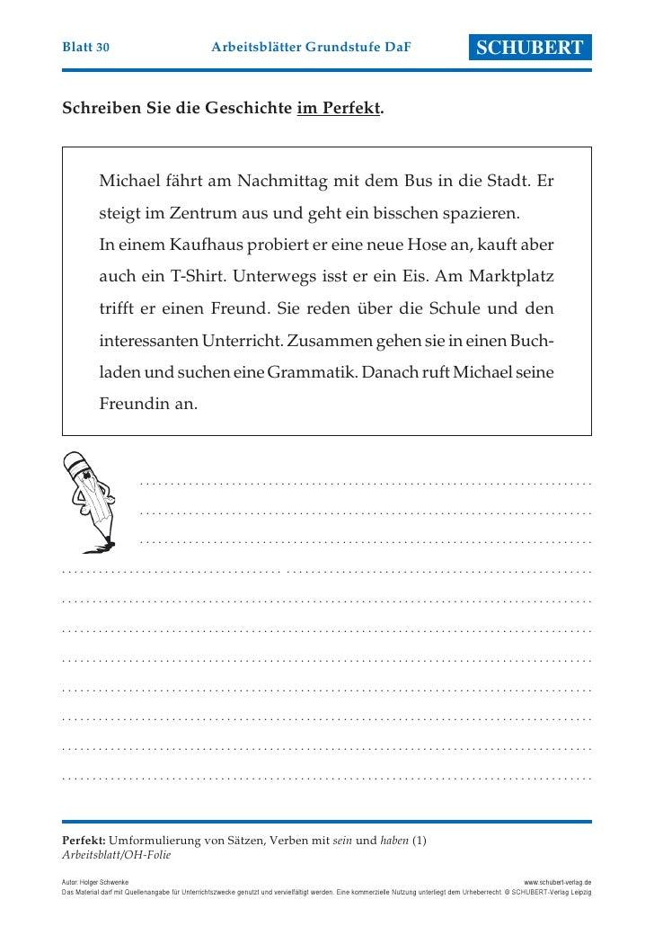Blatt 30                                         Arbeitsblätter Grundstufe DaF                                            ...