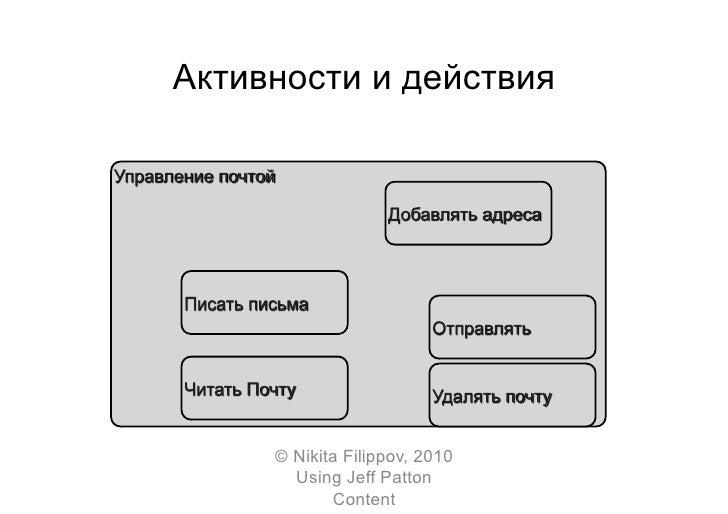 Активности и действия          © Nikita Filippov, 2010        Using Jeff Patton             Content