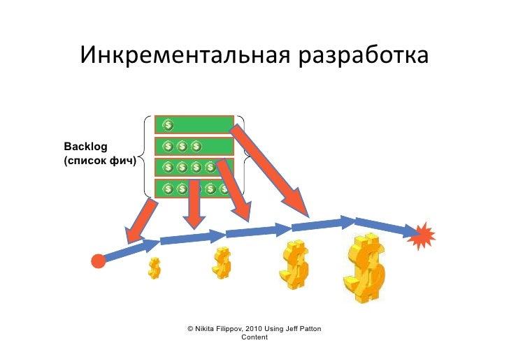 Инкрементальная  разработка     Backlog (список фич)                    © Nikita Filippov, 2010 Using Jeff Patton     ...