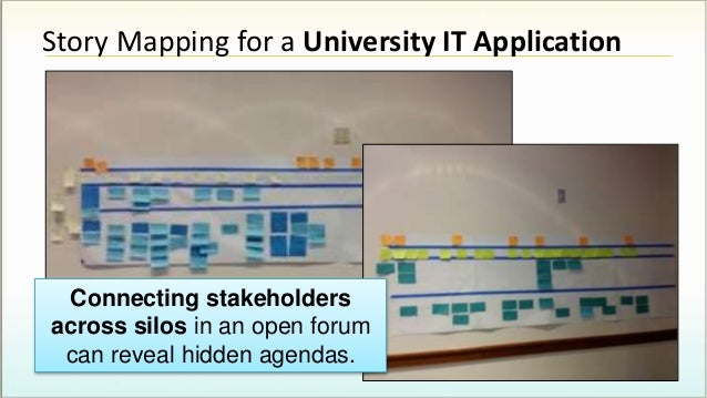 Story Mapping for a University IT Application Connecting stakeholders across silos in an open forum can reveal hidden agen...