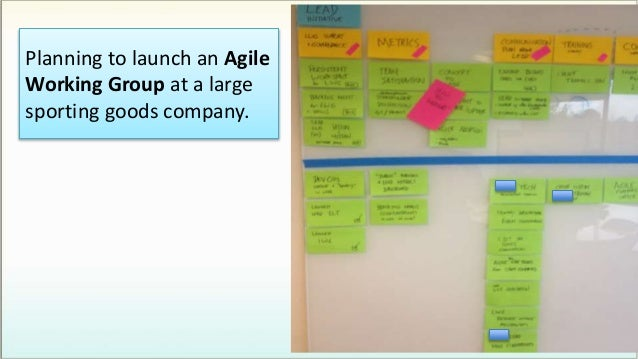 Planning to launch an Agile Working Group at a large sporting goods company.