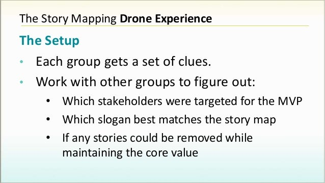 The Story Mapping Drone Experience The Setup • Each group gets a set of clues. • Work with other groups to figure out: • W...