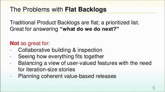 """The Problems with Flat Backlogs Traditional Product Backlogs are flat; a prioritized list. Great for answering """"what do we..."""
