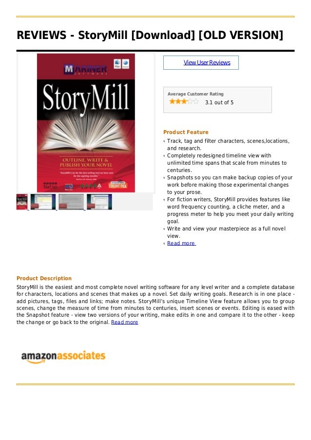 REVIEWS - StoryMill [Download] [OLD VERSION]ViewUserReviewsAverage Customer Rating3.1 out of 5Product FeatureTrack, tag an...