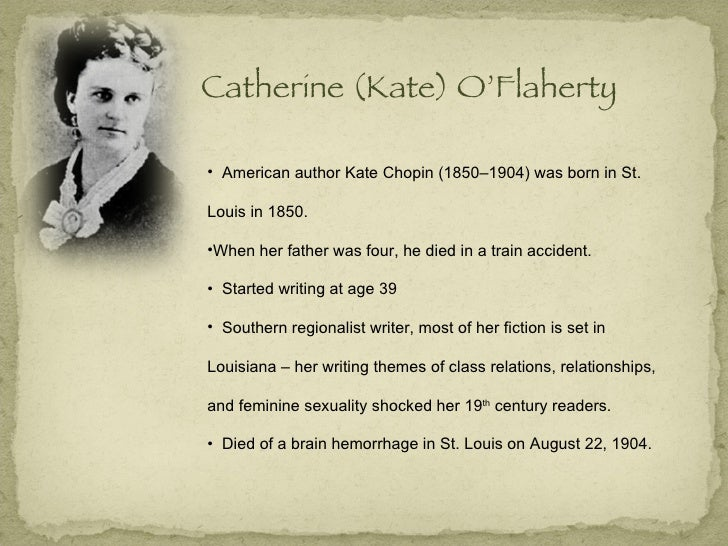 essays on kate chopin The story of an hour by kate chopin is a short story from the late nineteenth century focusing on a young woman as she reacts to a report that.