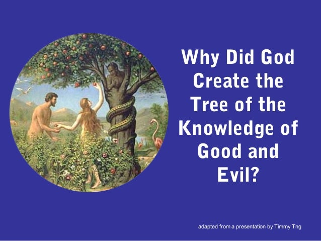 Why Did God Create the Tree of the Knowledge of Good and Evil? adapted from a presentation by Timmy Tng