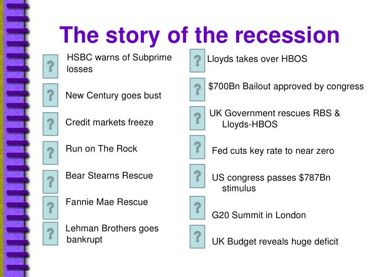 The story of the recession<br />Lloyds takes over HBOS<br />         $700Bn Bailout approved by congress<br /> 	    UK Gov...