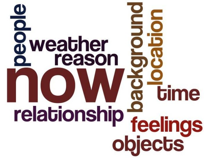 now now now relationship location objects people reason weather feelings time background <br />