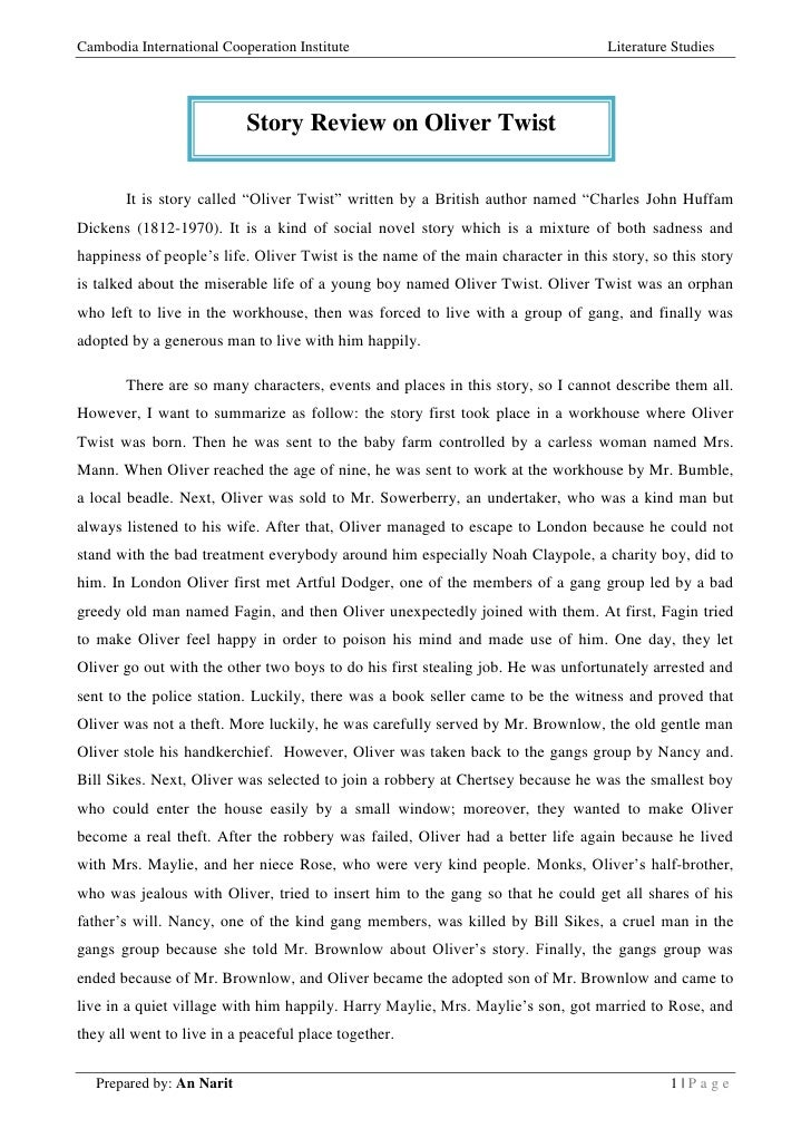 Book report on oliver twist