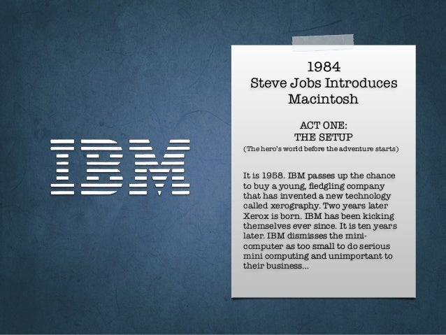 1984 Steve Jobs Introduces Macintosh It is 1958. IBM passes up the chance to buy a young, fledgling company that has invent...