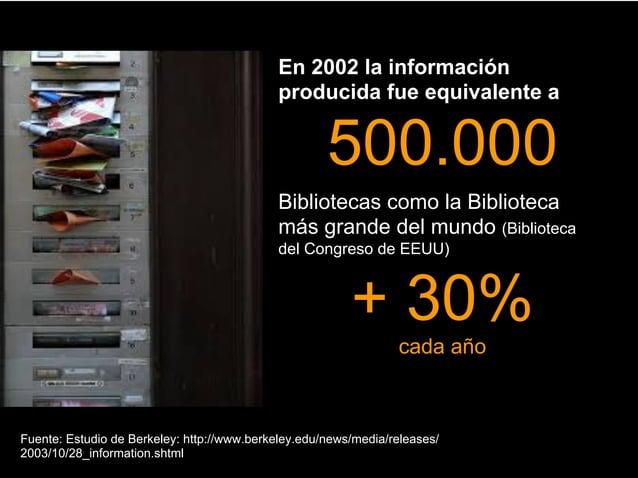 En 2002 la información producida fue equivalente a  500.000 Bibliotecas como la Biblioteca más grande del mundo (Bibliotec...
