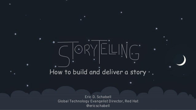 1 How to build and deliver a story Eric D. Schabell Global Technology Evangelist Director, Red Hat @ericschabell