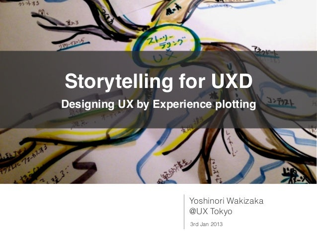 Storytelling for UXDDesigning UX by Experience plotting                       Yoshinori Wakizaka                       @UX...