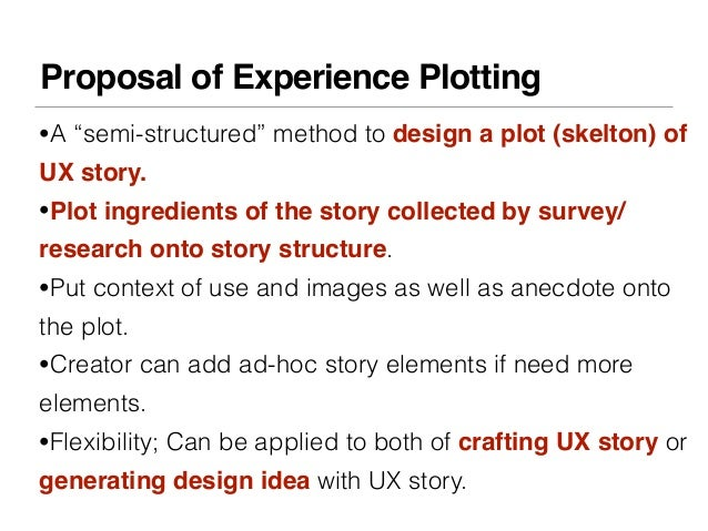 """Proposal of Experience Plotting•A """"semi-structured"""" method to design a plot (skelton) ofUX story.•Plot ingredients of the ..."""