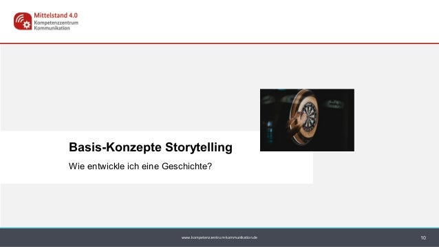 www.kompetenzzentrum-kommunikation.de Basis-Konzepte Storytelling 10 Wie entwickle ich eine Geschichte?