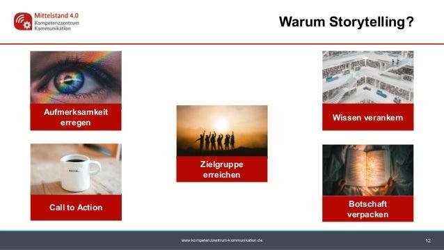 www.kompetenzzentrum-kommunikation.de Zielgruppe erreichen 12 Warum Storytelling? Aufmerksamkeit erregen Botschaft verpack...