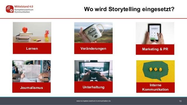 www.kompetenzzentrum-kommunikation.de 13 Wo wird Storytelling eingesetzt? Unterhaltung Lernen Journalismus Marketing & PRV...
