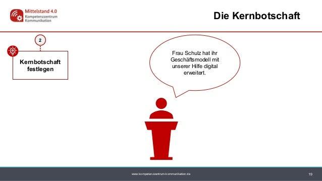 www.kompetenzzentrum-kommunikation.de 2 Kernbotschaft festlegen 19 Die Kernbotschaft Frau Schulz hat ihr Geschäftsmodell m...