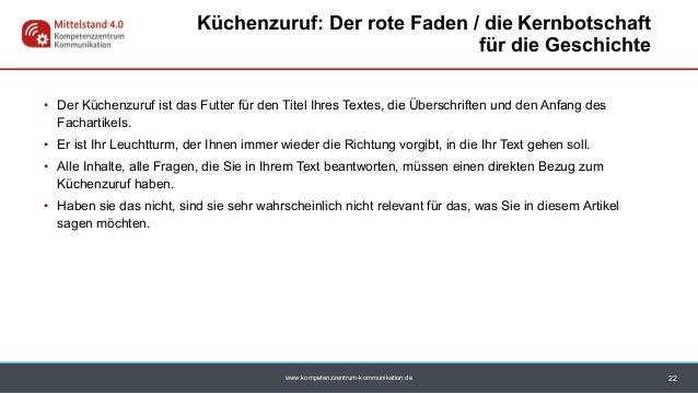 www.kompetenzzentrum-kommunikation.de • Der Küchenzuruf ist das Futter für den Titel Ihres Textes, die Überschriften und d...