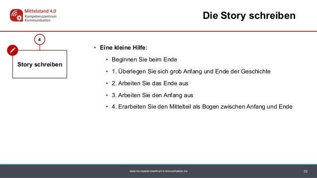 www.kompetenzzentrum-kommunikation.de 4 Story schreiben 32 Die Story schreiben • Eine kleine Hilfe: • Beginnen Sie beim En...
