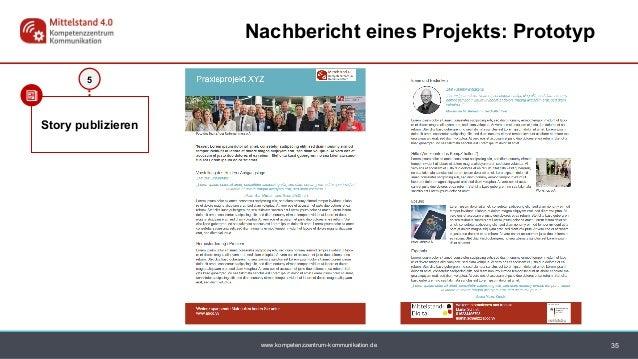 www.kompetenzzentrum-kommunikation.de 35 Nachbericht eines Projekts: Prototyp Story publizieren 5
