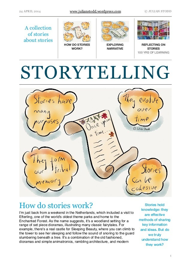 24 APRIL 2014 www.julianstodd.wordpress.com © JULIAN STODD How do stories work? I'm just back from a weekend in the Nether...