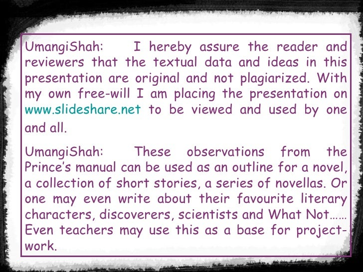 UmangiShah: I hereby assure the reader and reviewers that the textual data and ideas in this presentation are original and...