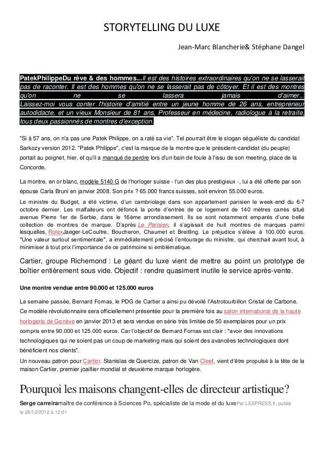 STORYTELLING DU LUXE                                                                 Jean-Marc Blancherie& Stéphane Dangel...