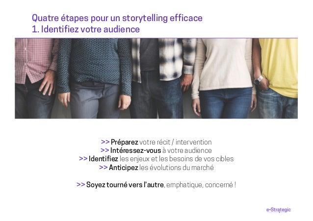 Quatre étapes pour un storytelling efficace 1. Identifiez votre audience >> Préparez votre récit / intervention >> Intéres...