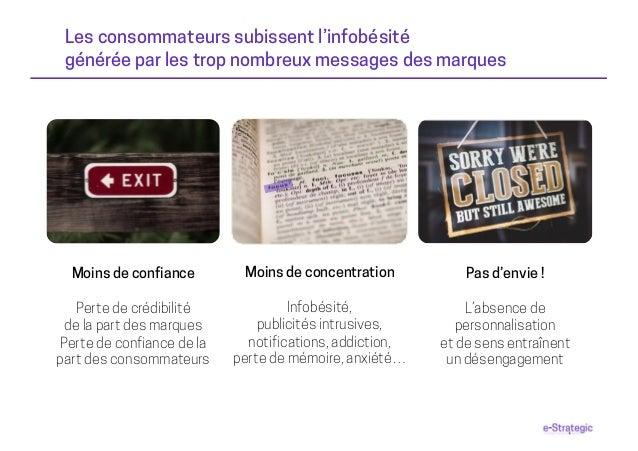 Les consommateurs subissent l'infobésité générée par les trop nombreux messages des marques Moins de concentration Infobés...